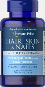 Puritan's Pride Hair Skin Nails One Per Day Formula 60 капс