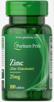 Zinc 25 mg  100 табл Puritans Pride
