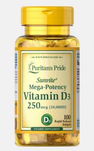 Puritan's Pride Vitamin D-3 (Mega-Potency 10.000 IU) 100 softgels