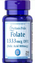 Folate 1333 mcg 250 табл Puritans Pride