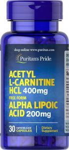 Acetyl L-Carnitine HCL 400 мг Alpha Lipoic Acid 200мг 30 капс Puritans Pride