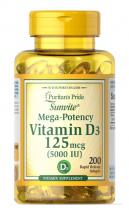 Puritan's Pride Vitamin D-3 (5.000 IU) 200 softgels