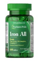 Puritan's Pride Iron All 100 табл