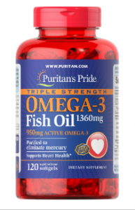 Puritan's Pride Triple Omega 3 Fish Oil  120 софтгель