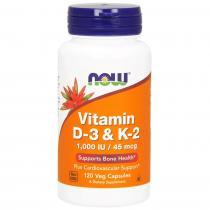 Vitamin D-3 & K-2 1000IU/45mcg 120 капс Now Foods
