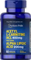 Acetyl L-Carnitine HCL 400 мг Alpha Lipoic Acid 200мг 60 капс Puritans Pride